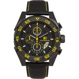 Chronograph Watch Black Leather Strap, Black And Yellow Dial, 44mm - Black - Buech & Boilat Watches