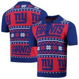 Men's Royal/Red New York Giants Ugly Sweater Knit Polo