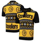 Men's Black/Gold Pittsburgh Steelers Ugly Sweater Knit Polo