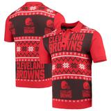 Men's Brown/Orange Cleveland Browns Ugly Sweater Knit Polo