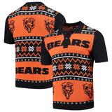 Men's Navy/Orange Chicago Bears Ugly Sweater Knit Polo