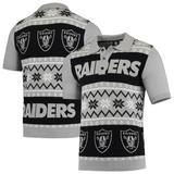 Men's Black/Silver Las Vegas Raiders Ugly Sweater Knit Polo