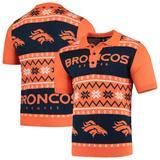 Men's Navy/Orange Denver Broncos Ugly Sweater Knit Polo