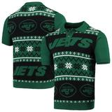 Men's Green/Black New York Jets Ugly Sweater Knit Polo