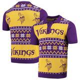 Men's Purple/Gold Minnesota Vikings Ugly Sweater Knit Polo