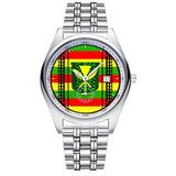 Casual Simple New Style Stainless Steel Strap Waterproof Wristwatch Tribal Kanaka Maoli Flag Dial Analog Quartz Watch Date & Second Hands dial