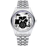 Casual Simple New Style Stainless Steel Strap Waterproof Wristwatch Drums Watch Dial Analog Quartz Watch Date & Second Hands dial