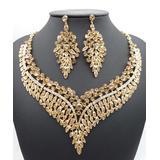 Ella & Elly Women's Earrings Goldtone - Crystal & Goldtone Filigree Statement Necklace & Drop Earrings
