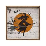 Kendrick Home Framed Wall Art Whitewash - Flying Witch Wall Art