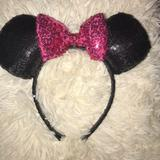 Disney Accessories   -Disney Minnie Mouse Ears With Pink Bow   Color: Pink   Size: Os