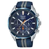 Pulsar Men's Stainless Steel Solar Powered Watch with Nylon Strap, Blue, 22 (Model: PZ5089X1)