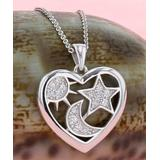 Kanishka Women's Necklaces Silver - Cubic Zirconia & Sterling Silver Heart Cutout Pendant Necklace