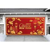 The Holiday Aisle® Happy Chinese New Year Car Garage Door Mural Plastic in Red, Size 84.0 H x 192.0 W x 0.5 D in | Wayfair