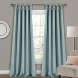 Lush Décor Insulated Knotted Tab Top Blackout Window Curtain Panels Blue 52X84 Set - Lush Decor 16T004569