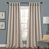 Lush Décor Insulated Knotted Tab Top Blackout Window Curtain Panels Wheat 52X84 Set - Lush Decor 16T004574