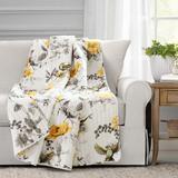 Penrose Floral Throw Yellow/Gray Single 50X60 - Lush Decor 16T004827