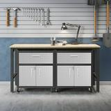 """Dotted Line™ 72"""" W Butcher Block Top Workbench Manufactured Wood/Steel in Brown/Gray, Size 37.6 H x 72.4 W x 20.5 D in 