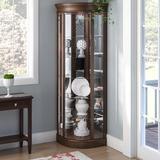 Charlton Home® Galghard Lighted Corner Curio Cabinet Wood in Brown, Size 80.0 H x 32.0 W x 26.0 D in | Wayfair 15982