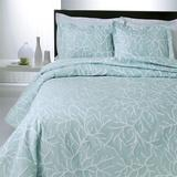 Coral Delight Matelasse Coverlet, Queen, Spring Green