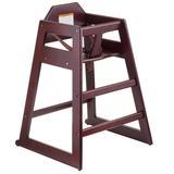 "Tablecraft 6464062 29"" Stackable High Chair w/ Waist Strap - Rubberwood, Mahogany"