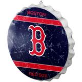 """""""Boston Red Sox Distressed Logo Bottle Cap Sign"""""""
