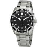 Kinetic Black Dial Stainless Steel Watch - Metallic - Seiko Watches