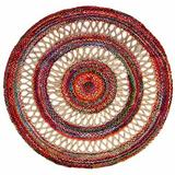 World Menagerie Ruben Tufted Cotton/Jute Beige/Red/Brown Area Rug Cotton/Jute & Sisal in Brown/Red/White, Size 60.0 W x 0.5 D in | Wayfair