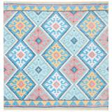 World Menagerie Saffron Southwestern Handmade Tufted Blue/Aqua/Pink Area Rug Polyester/Cotton in Blue/Pink, Size 72.0 H x 72.0 W x 0.47 D in Wayfair