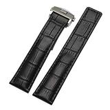 20mm 22mm Men's Strap Genuine Leather Watch Band Fashion Sports Wristband with Folding Clasp Buckle Watch Accessories Black