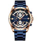 Men Watch Stainless Steel Mens Watches Chronograph Quartz Watch Men Sports Clock Date Relogio Masculino Reloj Hombr (Rose Gold Blue)