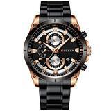 Men Watch Stainless Steel Mens Watches Chronograph Quartz Watch Men Sports Clock Date Relogio Masculino Reloj Hombr (Rose Gold Black)