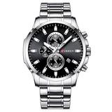 Men Watch Stainless Steel Mens Watches Chronograph Quartz Watch Men Sports Clock Date Relogio Masculino Reloj Hombr (Silver Black)