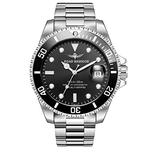 Road Warrior Submariner Ceramic Bezel Men's Quartz Watch Pro Diver Silver; Dial Color - Black Stainless Steel Watch with Box luminus
