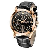 Mens Watches LIGE Casual Leather Watch Analog Quartz Watch Men Black Fahison Dress Wristwatch Men's Waterproof Chronograph Sport Clock Business Date Casual Watch Men