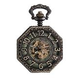 POPETPOP Pocket Watch with Chain-Personalized Retro Watch Mechanical Pocket Watch Hollow Watch for Christmas Gifts-Color Bronze