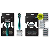 Made For YOU by BIC Shaving Razor Blades for Every Body for a Smooth Close Shave & Hair Removal, TEAL Kit & 12 Count Refill Razor Blades for Every Body for a Close Shave with Aloe Vera and Vitamin E