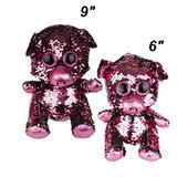 """Grin Studios Sequin Pig Plush Dolls- Pair of Big & Small Reversible Sequin Pigs   Pink to Silver   9"""" & 6"""" Pink to Silver Sequin Pig Plush Doll- Pair (GS701382)"""