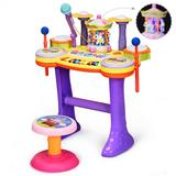 Costway 3-in-1 Kid Piano Keyboard Drum Set with Carousel Music Box