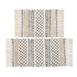 """HiiARug Boho Tufted Cotton Area Rug with Tassels, 2'x3'+2'x4'4"""", Machine Washable Throw Rugs Hand Woven, Floor Runner Rug for Porch Kitchen Bathroom Living Room, Cream"""