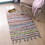 100% Cotton Rag Rug 2x3' Washable Multicolor Chindi Rug - Hand Woven & Reversible for Living Room Kitchen Entryway Rug -Multi Color, Farmhouse Rug.