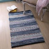 100% Cotton Rag Rug 2x3' Washable, Multicolor Denim Chindi Rug - Hand Woven & Reversible for Living Room Kitchen Entryway Rug - Multi Color, Farmhouse Rug,Recycle Area Rugs.