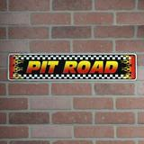 Winston Porter Middleton Checkered Flag Tin Pit Road Sign Metal in Yellow, Size 5.0 H x 24.0 W x 1.0 D in   Wayfair