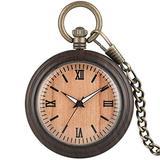 Wood Pocket Watch Dark Brown Personalized Pattern Steampunk Retro Vintage Quartz Roman Numerals Pocket Watch with Chain Xmas Gift