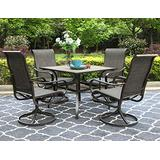 """PHI VILLA Outdoor Dining Set for 4, 5 Pcs Patio Dining Table & Chair Set Clearance with 4 Swivel Dining Chairs & 1 Square 37""""x 37"""" Umbrella Dining Table(1.57"""" Hole), for Outdoor Kitchen Lawn & Garden"""