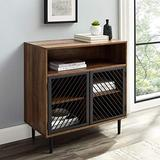 Walker Edison Modern Metal Accent and Wood Kitchen Buffet Entryway Bar Cabinet Storage Entry Table Living Dining Room, 32 Inch, Rustic Oak