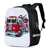 Fashion Elementary Student School Bags- Cartoon Fire Truck- Durable School Backpacks Outdoor Daypack Travel Packback for Kids Boys Girls