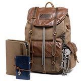 Leather Backpack for Men Canvas Vintage Rucksack Knapsack for Hiking Travel