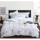 CLOTHKNOW White Marble Duvet Cover Sets Queen Cotton White Grey Bedding Sets Full Girls Teens Women Bedding Cover Modern Abstract Quilt Set 3 Pcs Bedding Cover Sets Marble Queen Bedding