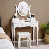 CHARMAID Vanity Set with Removable Makeup Organizer and Oval Rotating Mirror, Makeup Dressing Table with 5 Drawers and 2 Dividers, Women Girls Kids Makeup Desk Vanity with Cushioned Stool (White)