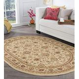 Raleigh Beige 7x10 Oval Area Rug for Living, Bedroom, or Dining Room - Traditional, Floral